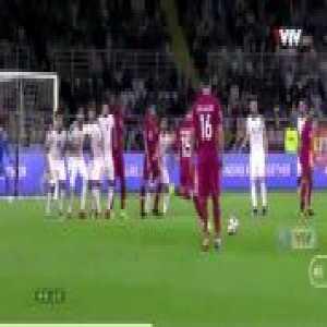 Bassam Al Rawi free kick goal: Qatar [1] - 0 Iraq