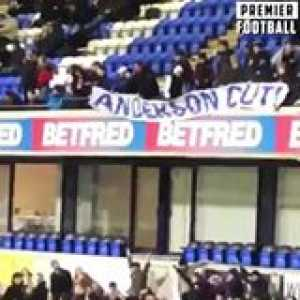 """Bolton fans trying to get their banner to the upper tier last night...  """"GET IT UP, GET IT UP, GET IT UP!"""" 😂"""