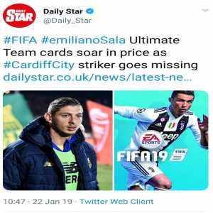 Disgraceful headline on Emiliano Sala's situation by the Daily Star