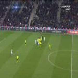 Nemanja Radonjic (Marseille) yellow card for kicking Nicolas Pepe's boot back at him