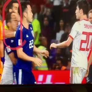 A bit late, but fight between Iranian and Japanese player after Azmoun slaps Gaku in the face. A minute into the fight, Nagatomo is headlocked by another Iranian player.