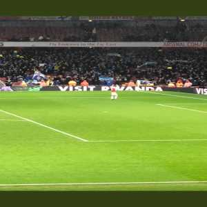 Aaron Ramsey applauding the Cardiff travelling fans at full time