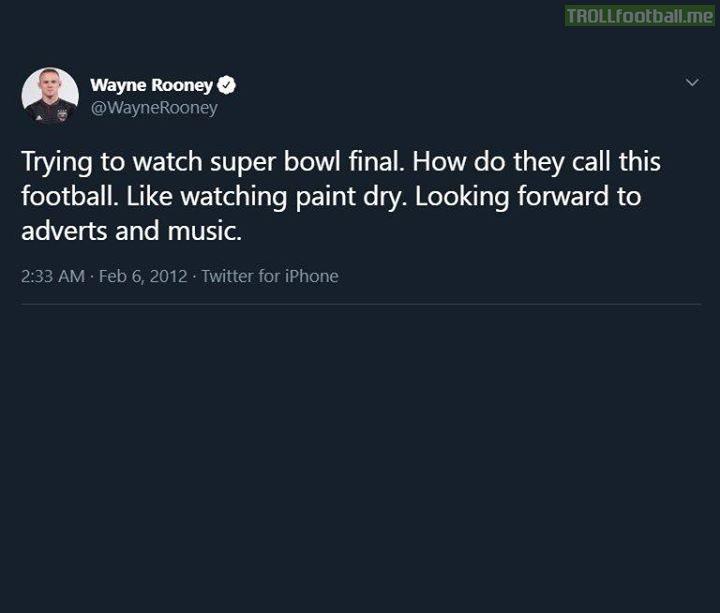 Never forget Wayne Rooney's iconic SuperBowl tweet 😂 😂 😂