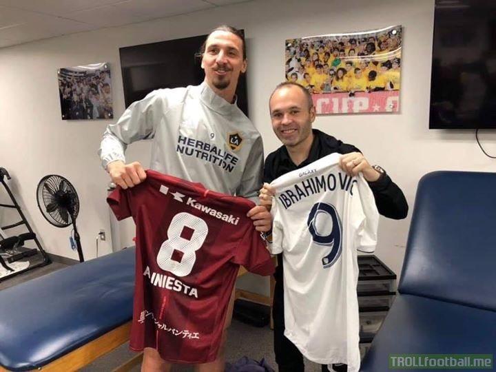 Former teammates Andrés Iniesta and Zlatan Ibrahimović reunite in Los Angeles! 🤝