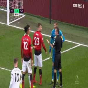 Aleksandar Mitrovic and David de Gea yellow cards 90'