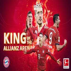 Lewandowski scores his 100th goal at the Allianz Arena.