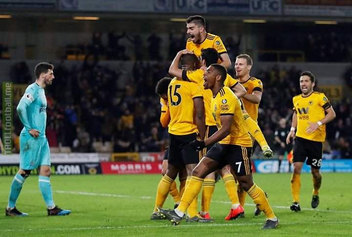 Wolves 1-1 Newcastle  Willy Boly's added-time header rescues a point for the home side