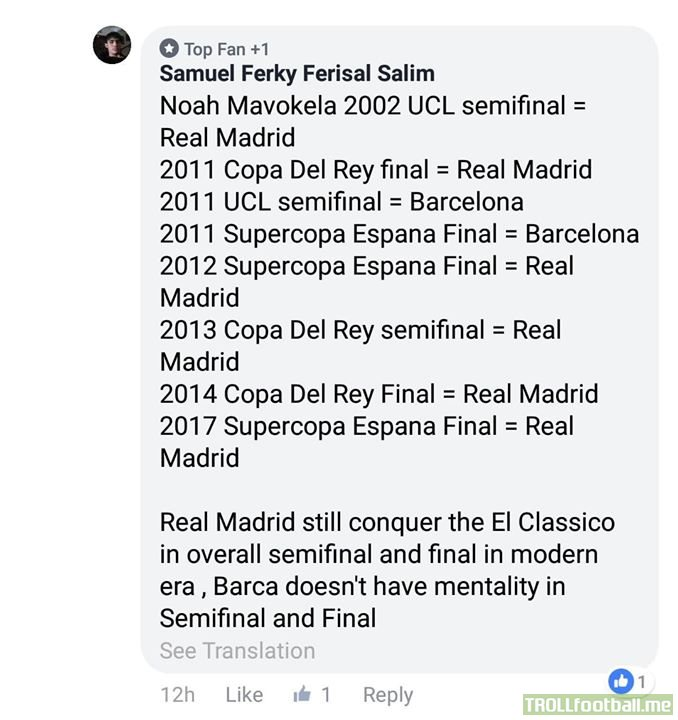 I guess they do have the mentality. And with that the overall ElClasico's are officially tied at 95 games apiece.  Looking forward to the weekends El Clasico!!!