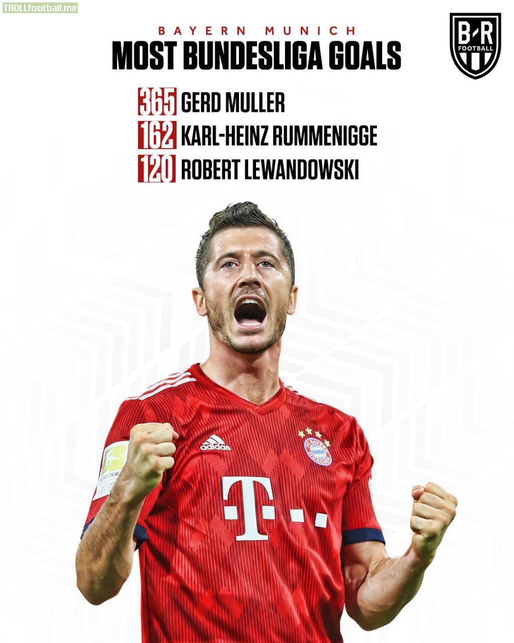 Robert Lewandowski is now Bayern's third-highest Bundesliga scorer in their history