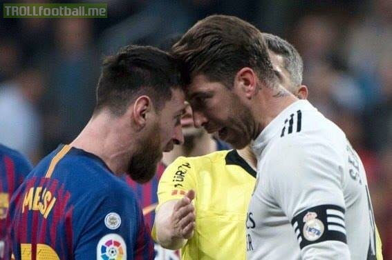 Messi and Ramos have a very tight head to head in El Clasico:  Messi: Most goals ever Most assists ever Most hattricks ever 🙌🏻  Ramos: Most cards ever Most games lost (20) in El Clasico ever 😂😂