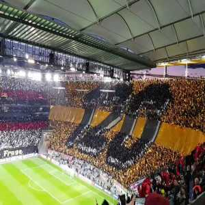 Eintracht Frankfurt tifo ahead of the game against Internazionale