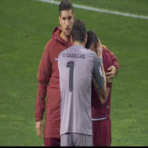Florenzi in tears after the foul that caused the penalty at the 117th, being consoled by Casillas