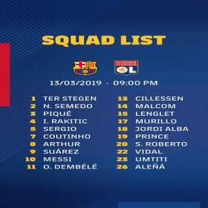 Barcelona's squad to play Lyon tomorrow includes Dembele