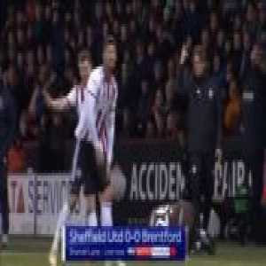 Gary Madine (Sheffield United) straight red card against Brentford 35'