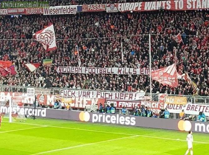 """Bayern Munich fan banner:  """"Modern football kills emotion, f**k VAR, f**k UEFA"""""""
