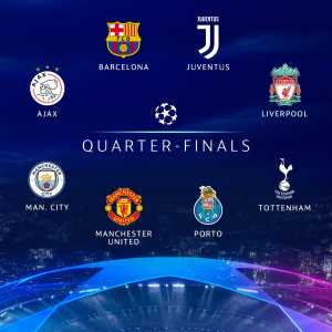 Champions league Quarter Finalists: Ajax, Tottenham, Barcelona, Juventus, Porto, Liverpool, Manchester City, Manchester United