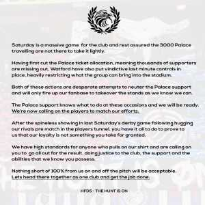 Crystal Palace fan group Holmsdale Fanatics release statement before Saturday's FA Cup Quarter Final vs. Watford.
