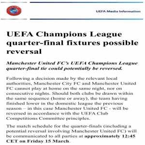 UEFA confirms Manchester United's QF fixture may be reversed