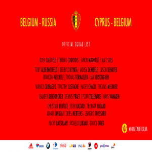 Belgium squad for upcoming Euro Qualifiers against Russia and Cyprus