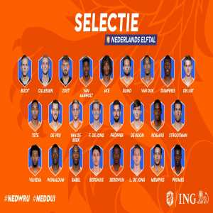 Dutch squad for upcoming Euro Qualifiers against Belarus and Germany