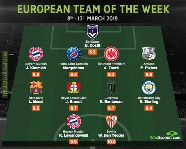 📢European team of the week.   ✅Ben Yedder steals Ronaldo's spot. ✅The 🐐 G.O.A.T. is on every top list as usual!!!  Source: Who scored statistical analysis