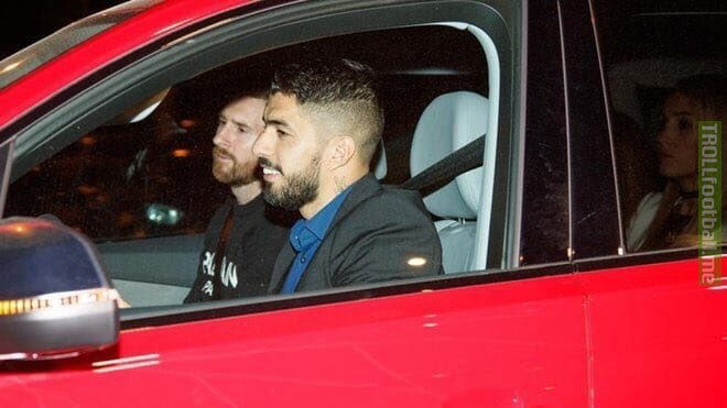 Suarez made his own wife sit at the backseat just because Messi was riding along with him 😂😂🤣🤣