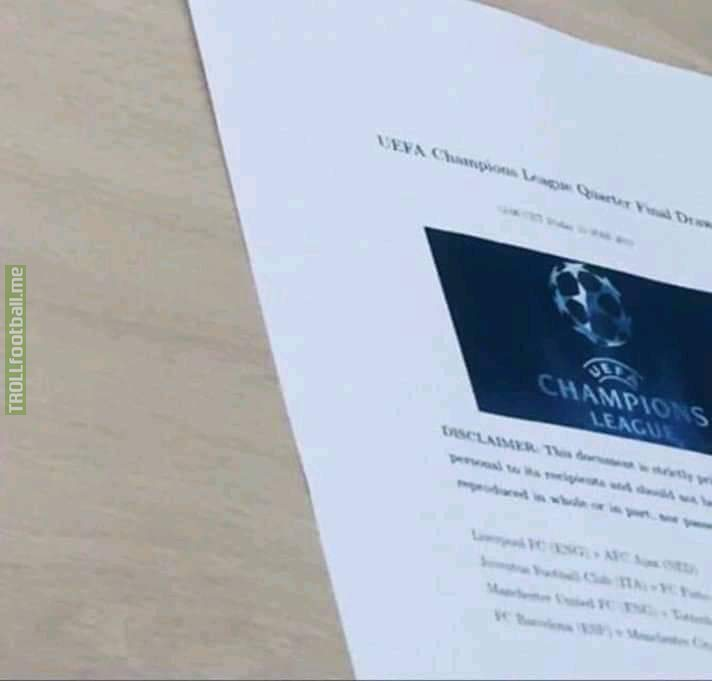 UCL draw leaked 🤔 Juve vs Porto, Utd vs Spurs, Barca vs City, Liverpool ve Ajax. May be it is not true, How is this draw? One blockbuster match Barca vs City.