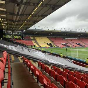 Watford separated the Crystal Palace fans into two groups to stifle the atmosphere for their FA Cup clash today.