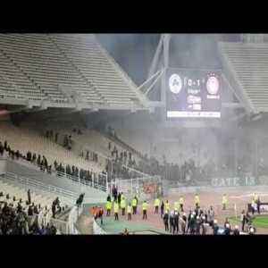 Hooligans force Greek derby (Panathinaikos - Olympiacos) to a stop.