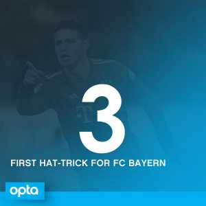 James Rodriguez scored his first hat-trick for FC Bayern- the last time he scored 3 goals was in 2011 for Porto against Vitoria Guimaraes.