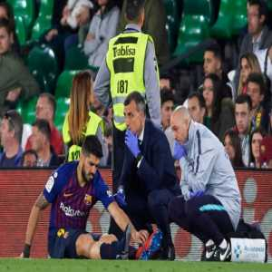 Luis Suarez suffers a sprain in the right ankle and is pending further medical evaluation