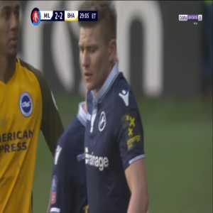 Shane Ferguson (Millwall) straight red card against Brighton 119'