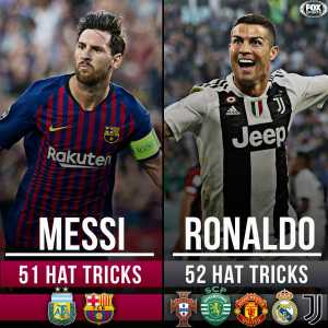 With today's hat trick, Messi now sits just one behind Ronaldo in career hat tricks (51 & 52 respectively)
