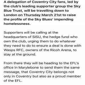 Coventry City fans led by supporter group the Sky Blue Trust will lawfully protest at Sisu and the EFL on Thursday about their impending homelessness.