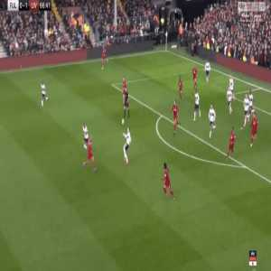 Salah tracks back to defend a crucial counter attack vs Fulham