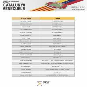 Catalonia's Teamsheet ahead of their match against Venezuela - Both Pique & Xavi will play