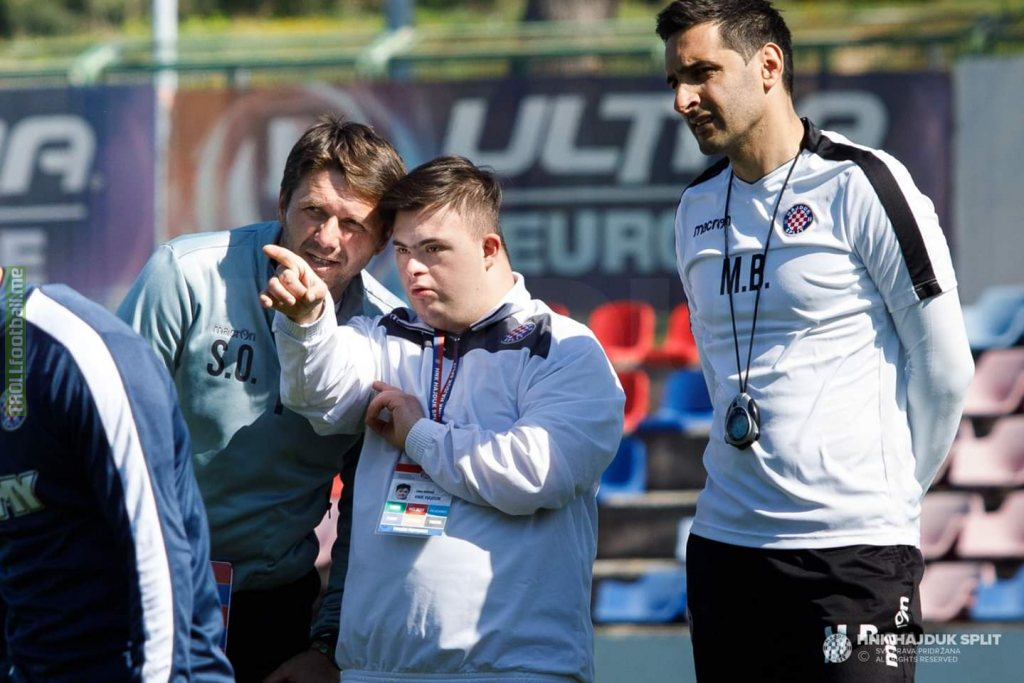 Hajduk Split's employee Luka led today's training session with the first team's coach to celebrate Down Syndrome day. Soccer is more than a game.