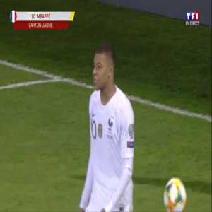 Kylian Mbappe yellow card for diving against Moldova 90'+1'