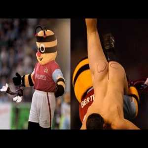 This was voted 9th in Burnley's 100 greatest moments of all time. The mascot Bertie Bee tackles a streaker and then does the Worm.