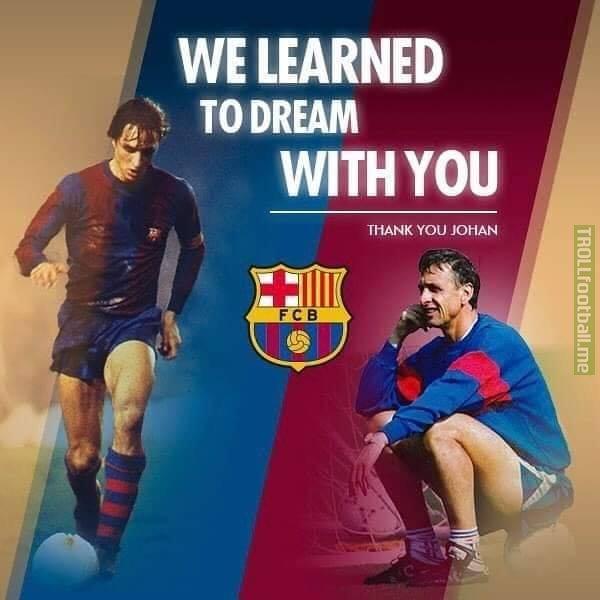 Three years since Johan Cruyff passed away. Gone but never forgotten. CruyffLegacy 🔵🔴 JohanCruyff_Forever 💙❤