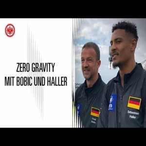 Sébastien Haller of Eintracht Frankfurt is about to become the first player to score a goal in zero gravity (mostly German video).