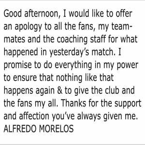Alfredo Morelos apologises to Rangers supporters and also the club for his stupid sending off in the Old Firm match