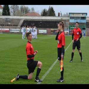 Before the game an assistant ref asked the other assistant ref to marry him. She said yes, fortunately. Happened in 4th division of Romania.