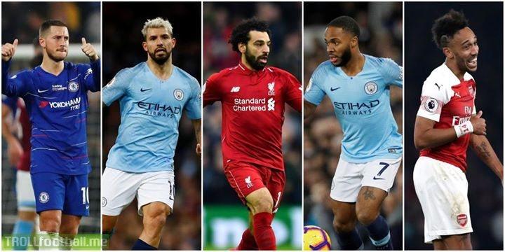 2018/19 PL goal involvements:  Hazard - 28 (16 goals, 12 assists) Aguero - 26 (19 goals, 7 assists) Salah - 25 (18 goals, 7 assists) Sterling - 24 (15 goals, 9 assists) Aubameyang - 22 (15 goals, 7 assists)