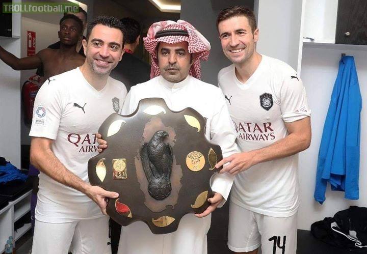 timeless design ae8fa e211d Xavi and Gabi after winning the league title with Al Sadd ...