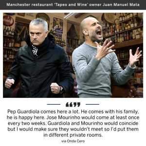 Juan Mata's dad had to make sure Jose Mourinho and Pep Guardiola were kept apart when they ate at his Manchester restaurant