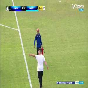 Almagro - Temperley in Argentina is interrupted because bees have started to cover one of the goals. They tried getting rid of the bees with a fire extinguisher. It did not work.