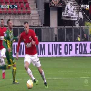 Horrid tackle by Tom Beugelsdijk on Mats Seuntjens during AZ - ADO Den Haag. This was somehow only awarded a yellow card, even after VAR review.