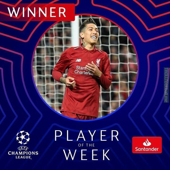 ⭕Liverpool striker Firmino beats MOTMs' Pique, Son and De Jong to win Champions League Player of the Week.