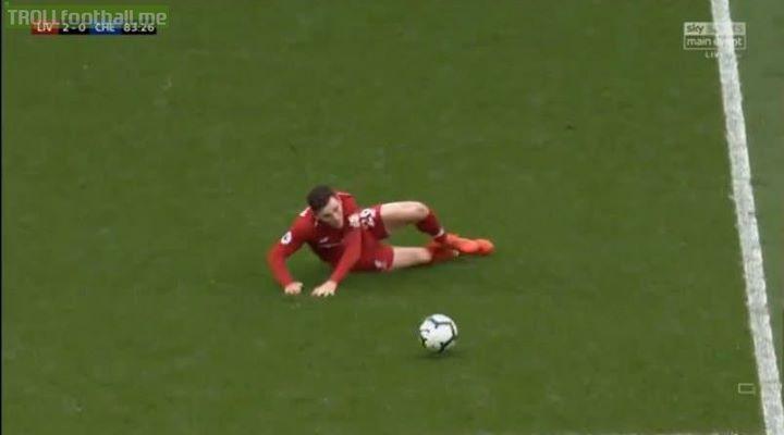 Robertson doing his best Gerrard impression.😂😂😂